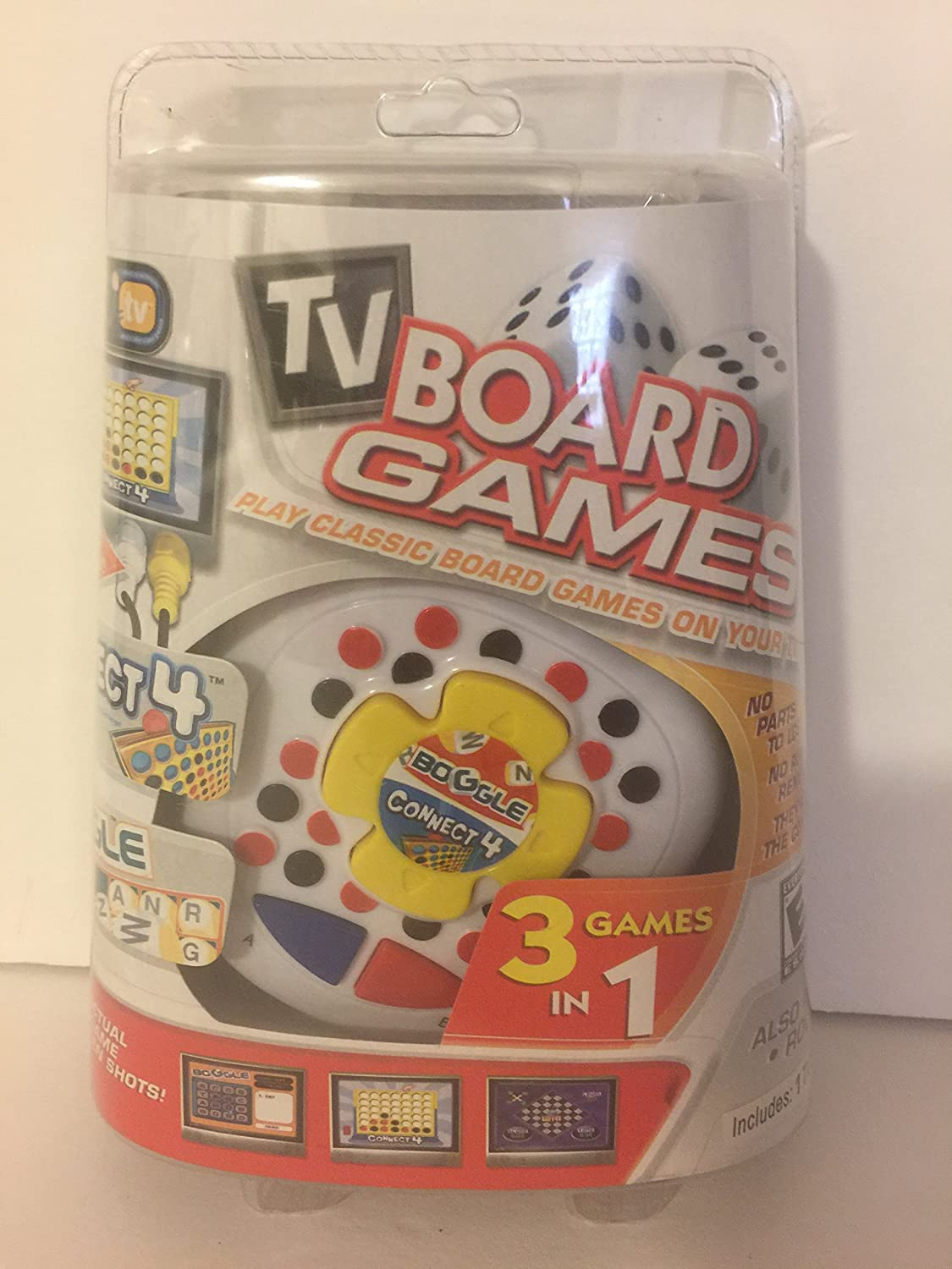 TV Plug and Play Classic Board Game Connect 4, Boggle, Roll Over, 3 Games in 1