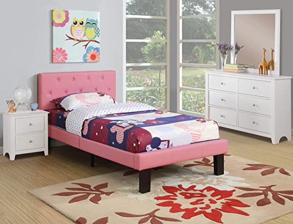 Poundex PU Upholstered Platform Bed Twin Pink