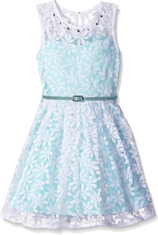 Beautees Girls' Big Sl/Less Daisy Lace Dress