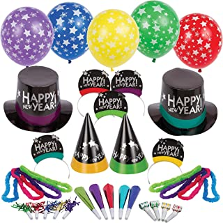Amscan Simply Stated New Year's Party Kit with Balloons for 50, Includes Cone Hats and Tiaras