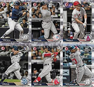 2019 Bowman Baseball Series Complete Mint 100 Card Set made by Topps with Rookies and Stars including Bryce Harper, Mike Trout, Aaron Judge, Mookie Betts plus