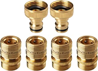 GORILLA EASY CONNECT Garden Hose Quick Connect Fittings. ¾ Inch GHT Solid Brass. 4 Female & 2 Male CONNECTORS.