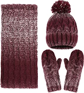 3 in 1 Women Soft Warm Thick Cable Knitted Hat Scarf & Gloves Winter Set