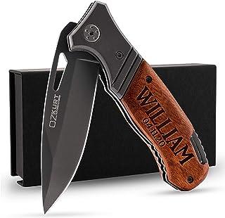 Engraved Pocket Knife for Men w/ Name, Text - Personalized Tactical Pocket Knives, Gifts for Men, Gift for Husband Christm...