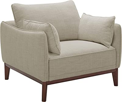 """Amazon Brand – Stone & Beam Hillman Mid-Century Living Room Chair with Tapered Legs and Removable Cushions, 39""""W, Ivory"""