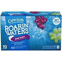 Capri Sun Roarin' Waters Grape Geyser Flavored Water, 10 ct - Pouches, 60.0 fl oz Box