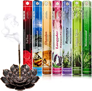 140 Pieces Incense Sticks 7 Various Scents and Lotus Incense Stick Holder with Detachable Ash Catcher for Halloween Party ...