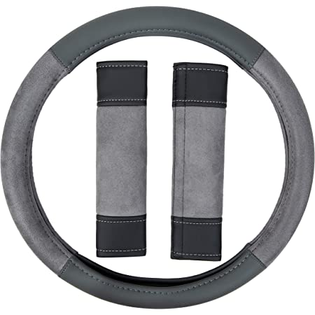 Amazon Basics Leatherette and Suede 15″ Steering Wheel Cover and Seatbelt Pads, Gray