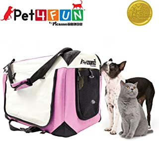 PET4FUN® PN950 Foldable Pet Puppy Dog Cat Carrier & Travel Crate w/ Premium 600D Oxford Cloth, Strong Steel Frame, Carry Bag, Locking Zippers, Washable Nap Pad, Airy Windows   3 Size & 3 Colors