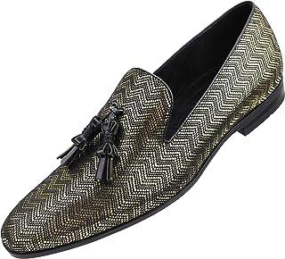 Amali Mens Metallic Zig Zag Smoking Slipper with Black Contrast Piping and Tassel Dress Shoe,
