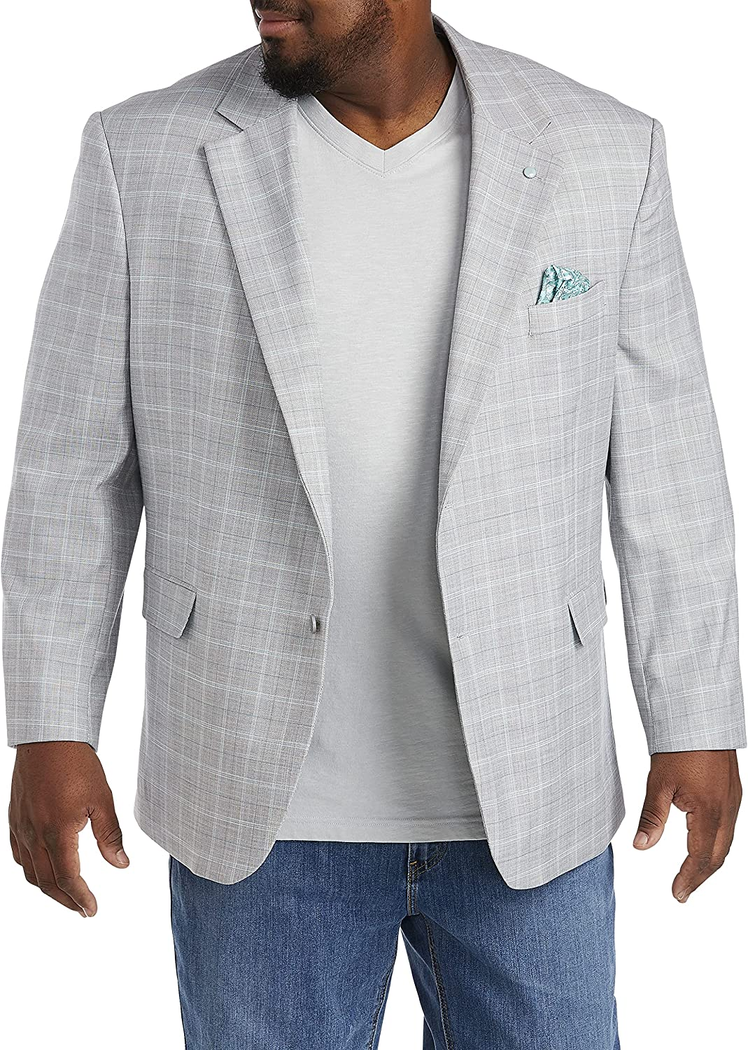 Oak Hill by DXL Big and Tall Jacket Relaxer Textured Deco Sport Coat, Grey