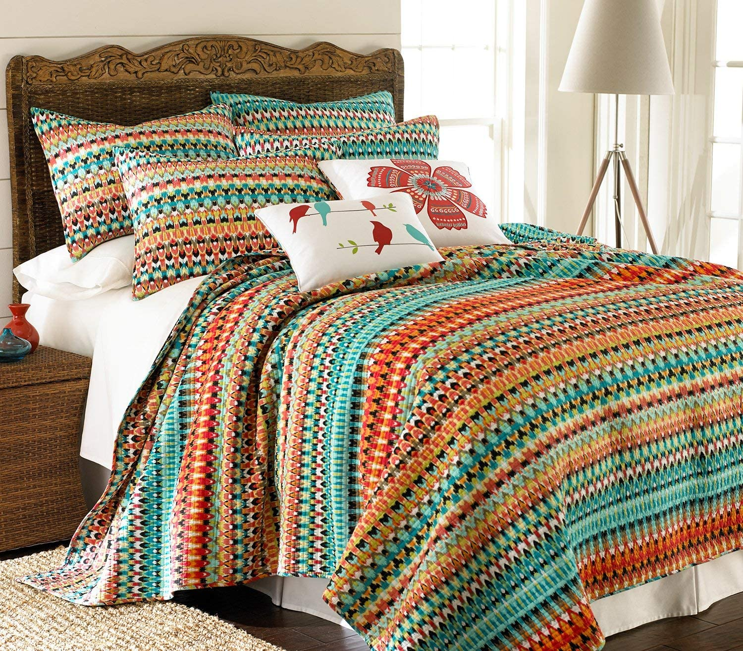 Levtex home Homthreads Corona Quilt Set - Queen Quilt + Two Standard Pillow Shams - Ikat Stripe - Teal Orange Black Yellow Red Green - Quilt (88x92in.) and Pillow Shams (26x20in.) - Cotton Fabric