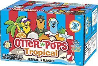 Otter Pops Tropical Ice Pops – Gluten & Fat Free Ice Pops, Delicious Tropical Frozen Treats Include New Fruit Punch, Pineapple, Coconut, & Mango Flavors, 100Count of 1 oz. Pops
