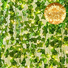 Giftale 168 Feet 24 Strands Artificial Ivy Leaf Plants Hanging Vine with 100 LED 33 Feet String Lights Perfect for Wedding...