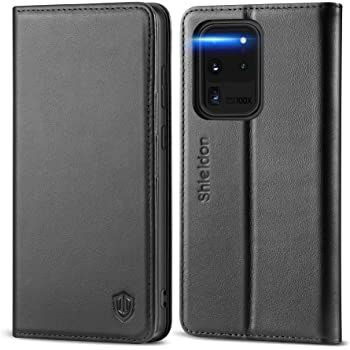 """SHIELDON Genuine Leather Galaxy S20 Ultra 5G Wallet Case RFID Blocking Kickstand Shockproof Magnetic Flip Cover Wallet Full Protective Book Case Compatible with Galaxy S20 Ultra (6.9"""") - Black"""