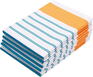 ZOLLNER Set de 5 torchons rayés, env. 50x70 cm, Turquoise Orange