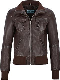 Carrie CH Hoxton Señoras Chaqueta de Cuero de Bombardero 100% Lambskin Classic Fashion Biker Estilo de la Motocicleta 3758