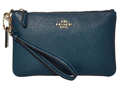 COACH Polished Pebble Small Wristlet (Peacock/Gold) Wristlet Handbags