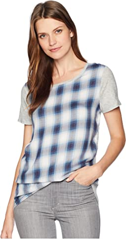 Short Sleeve Mixed Media Plaid Cotton Slub Top