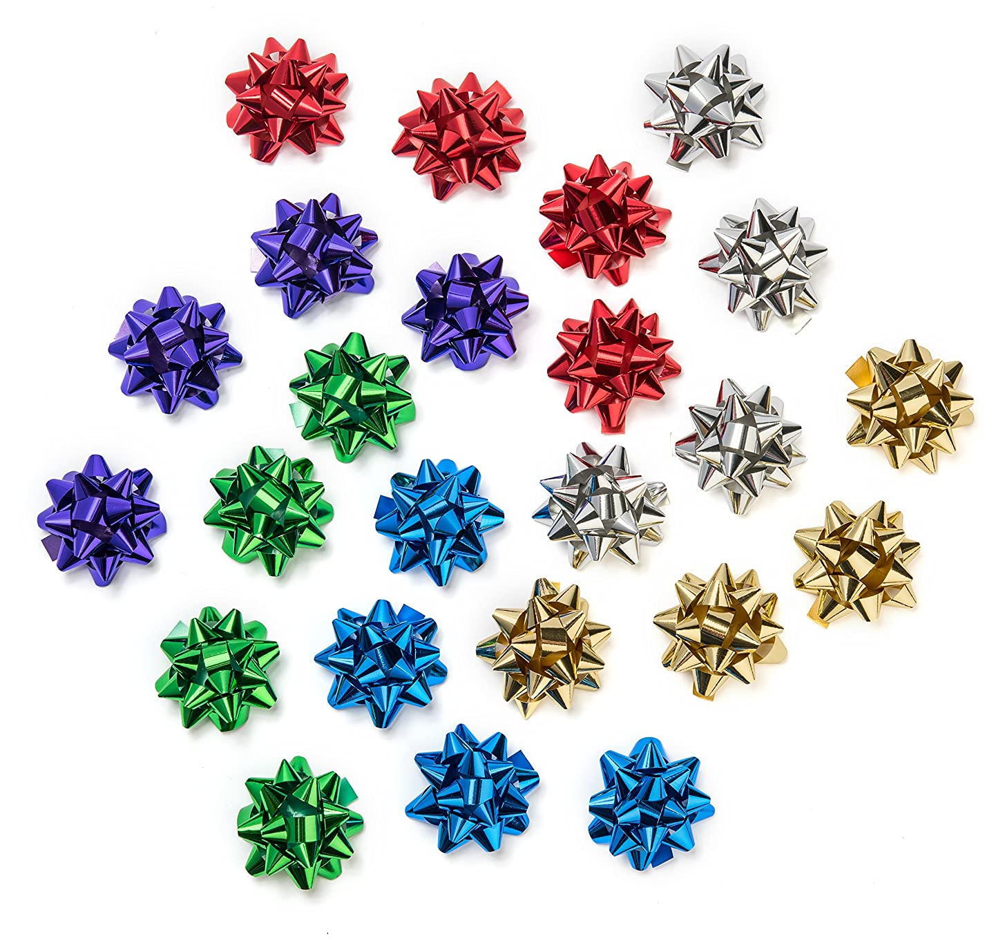 The Cottage Collection Decorative Metallic Gift Wrap Bows - 6 Colors for All Occasions 2.5in, 24 Bows (4 Each of 6 Colors)