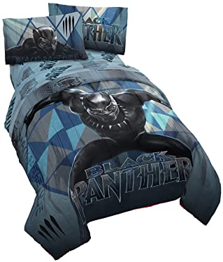Jay Franco Marvel Black Panther Blue Tribe Super Soft Kids 4 Piece Twin Size Bed Set - Fade Resistant Polyester Microfiber Fill - (Official Marvel Product)