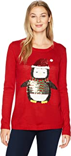 Erika Women's Lynn Cozy Penguin Pullover Ugly Christmas Sweater