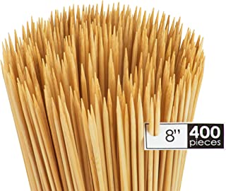 DecorRack Natural Bamboo Skewer Sticks, 400 Pack of 8 inch Natural Wooden Barbecue Kabob Skewers, Best for Grill, BBQ, Kebab, Marshmallow Roasting or Fruit Sticks