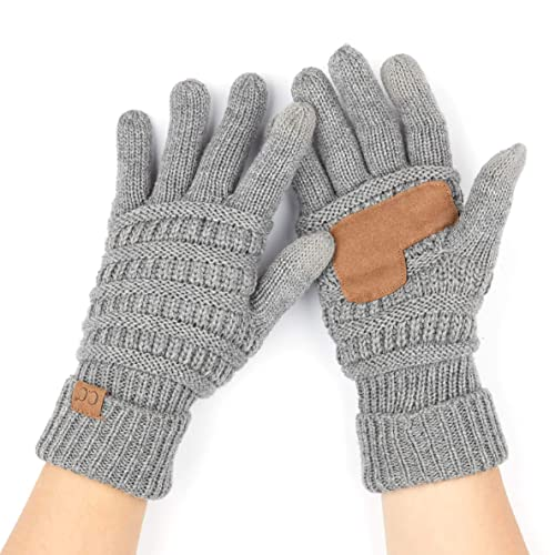 9b783be1e0155 C.C Women Solid Ribbed Glove with Smart Tips (G-20)(G-