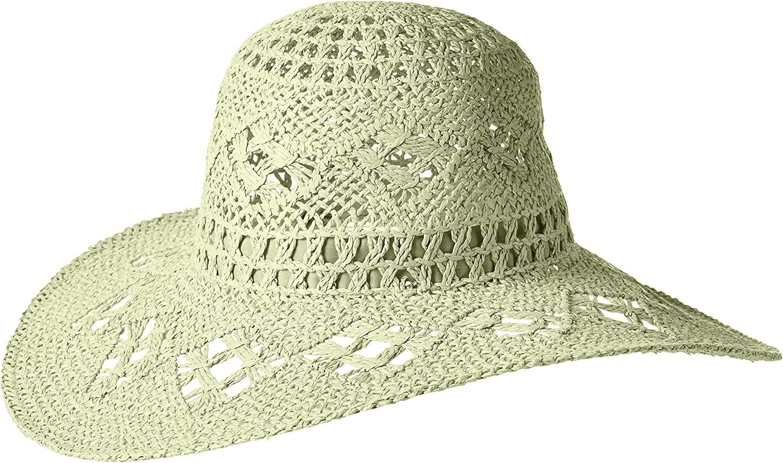 'ale by alessandra Womens Floresta Intricate Weave Toyo Boho Floppy Hat Fedora