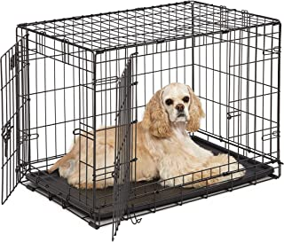 Dog Crate | Midwest ICrate 30 Inch Double Door Folding Metal Dog Crate w/Divider Panel, Floor Protecting Feet & Leak Proof...