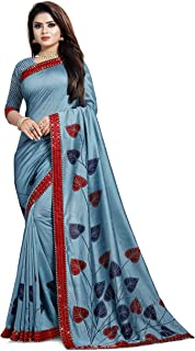 Gaurangi Creation Women's Art Silk Printed Blue Indian Ethnic Saree With Unstitched Blouse Piece(H-F Blue)