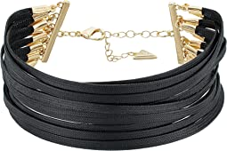 GUESS - Multi Row Faux Leather Choker Necklace