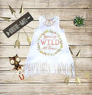 Young Wild and Three Fringe Dress with Name Custom Dress Boho Dress Baby Boho Clothes Personalized Dress Boho Outfit Boho Fringe Dress Bohemian Dress Girl Boho Dress Third Birthday Dress