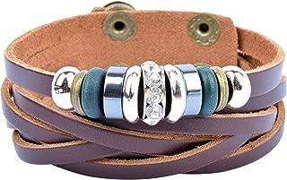 Mens Leather Bracelet Beaded Multi-strand Tribal Style Wristband
