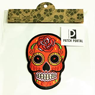 Patch Portal Orange Mexican Sugar Skull Decor Candy 3.5 Inches Biker Motorcycle Day of The Dead Aztec Red Flower Embroider...