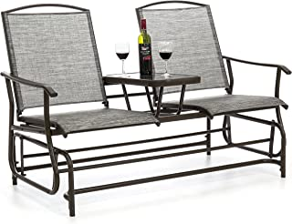 Best Choice Products 2-Person Outdoor Mesh Patio Double Glider w/Tempered Glass Attached Table, Gray