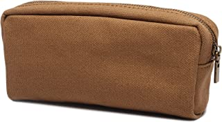 Karitco Plain Canvas Pencil Case with Brass Zipper 7.3 x 3 Inch (Brown)