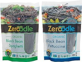 Zeroodle, Organic/Non GMO, Soy Bean, Black Bean, Mung Bean Fettuccine and Spaghetti Vegan Gluten Free Pasta Bundle Pack (2x7.05 oz.) (Black Bean Pasta Bundle)