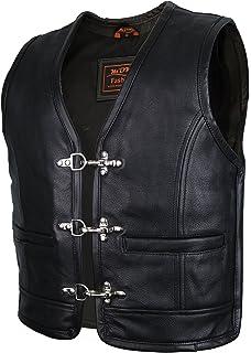 MDM Leren vest met ritssluiting aan de zijkant