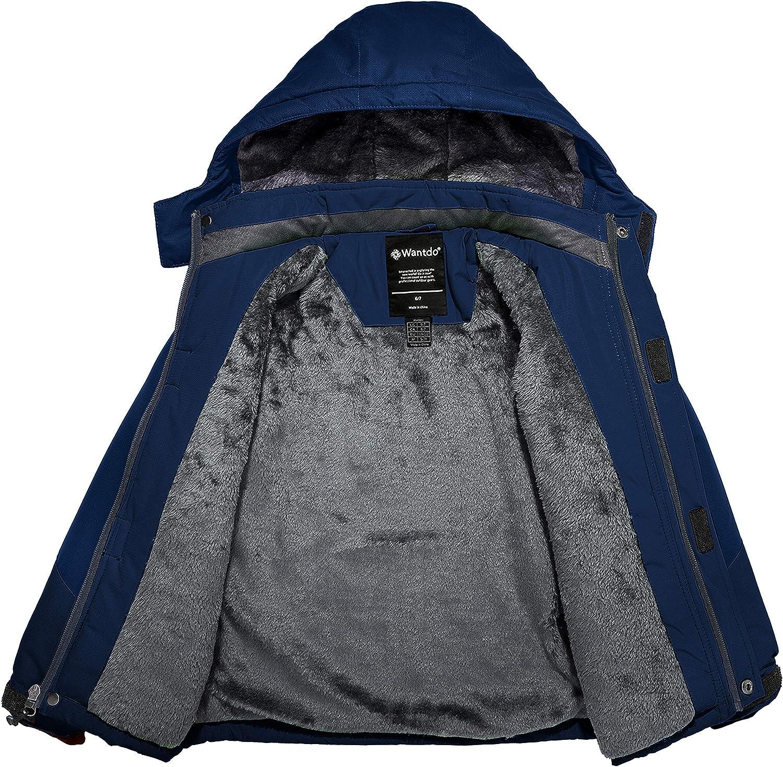 Wantdo Boys Waterproof Ski Jacket Fleece Snowboarding Jackets Thick Winter Coat Hooded Fleece Raincoats