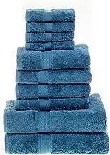 Superior Egyptian Cotton Solid 10-Piece Towel Set, 10PC, Denim Blue