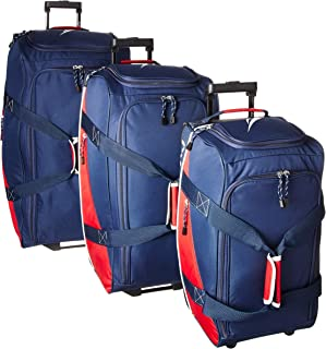 Nautica Wheeled Duffle Travel 3 Piece Large Rolling Lightweight Luggage Bags, Navy Red, One Size