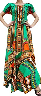 RaanPahMuang Africa Dashiki Colors Baby Doll Full Wild Smock Waist Ladies Dress