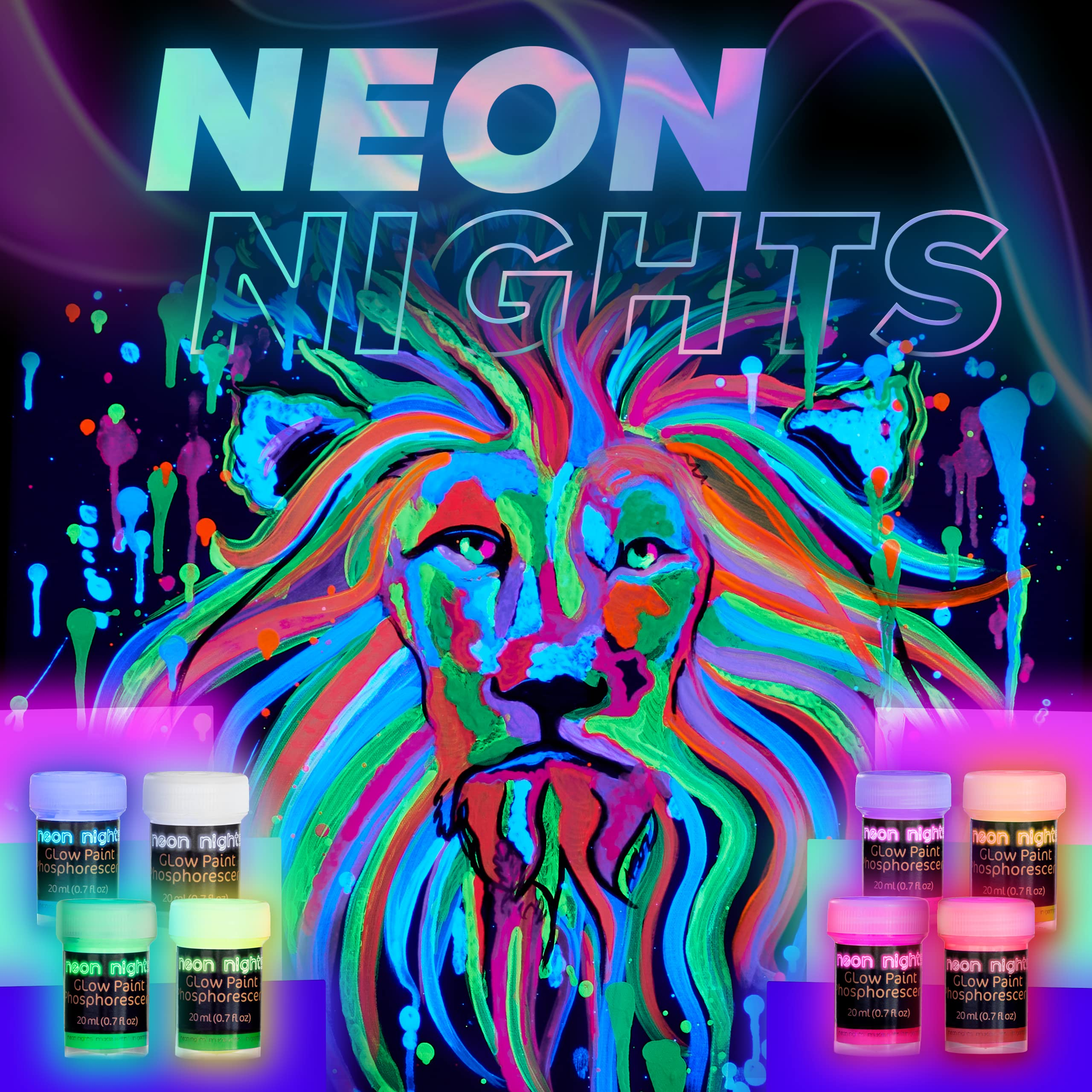 Neon Nights Glow in the Dark Paint - Set of 8, 20 mL Acrylic Paints for Outdoor and Indoor Use on Canvas, Walls and for Pumpkin Paint - Phosphorescent
