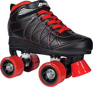 Lenexa Hoopla Kids Roller Skates for Kids Children - Girls and Boys - Kids Rollerskates - Childrens Quad Derby Roller Skate for Youths Boy/Girl - Kids Skates (Black w/Red Wheels)