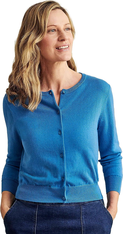 WoolOvers Womens Silk and Cotton 34 Sleeve Crop Cardigan Bellflower Blue XS