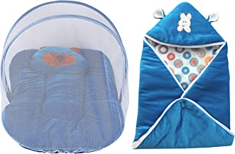 My Newborn Baby Protective Trendy Velvet Baby Bedding Set with Folding Mattress and Mosquito Net, Blue