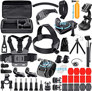 Leknes 59-in-1 Camera Accessory Kit for GoPro Hero 7 6 5 Session 4 3+ 3 2 1 Black Silver SJ4000/ SJ5000/ SJ6000 DBPOWER AKASO Xiaomi Yi APEMAN WiMiUS Lightdow