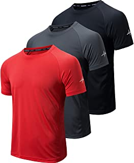 WanNiu Men's 3 Pack Workout Shirts Dry Fit Athletic Gym T-Shirts for Men Short Sleeve Mesh Moisture Wicking Shirts