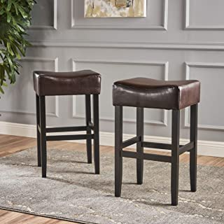Christopher Knight Home 295962 (Set of 2) Adler Brown Leather Backless Bar Stool